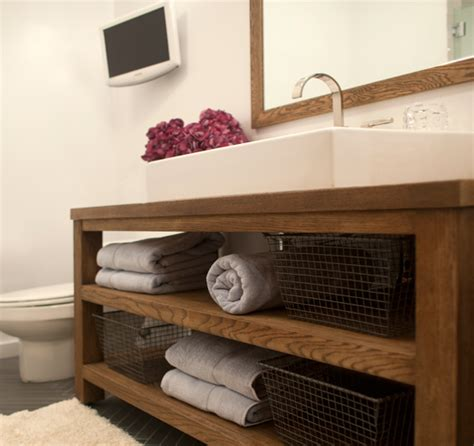 modern rustic bathroom vanity teak sink contemporary bathroom toronto interior