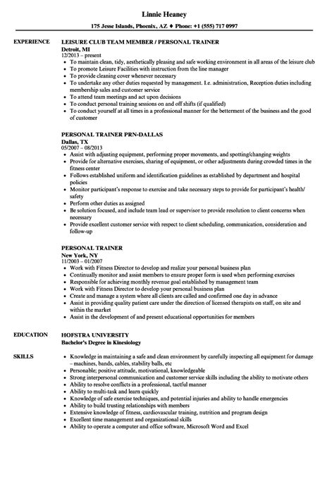 Personal Trainer Resume by Personal Trainer Resume Sles Velvet