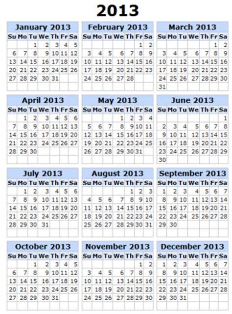 2013 printable calendar year view 2013 year calendar printable