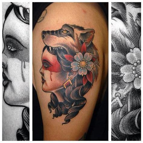 tattoo old school shoulder shoulder old school women wolf tattoo by jim sylvia