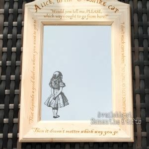 Alice (& Cheshire Cat) Engraved Mirrors in Engraved frame