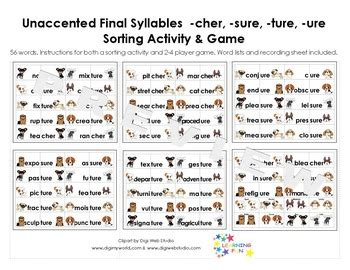 ure worksheets unaccented syllables sorting activity cher sure ture ure