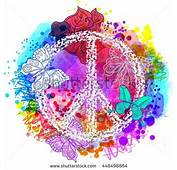 Peace Hippie Symbol Over Colorful Background Vectores En