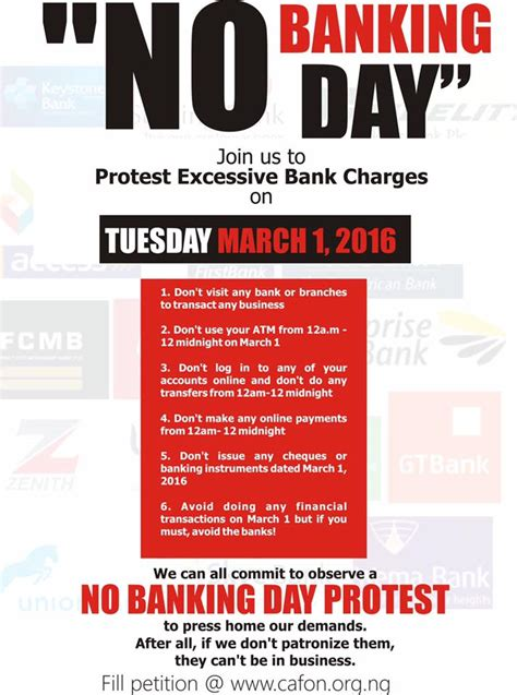 bank day march 1 is quot no banking day quot protest against excessive bank