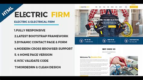 Electricfirm Electrician Electricity Services Html Website Template Themeforest Website Electrician Website Template