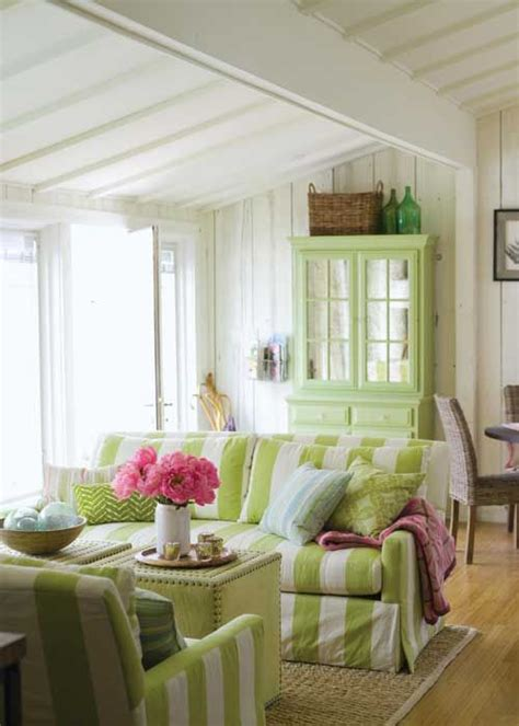 beach cottage living room spring greens tuvalu home