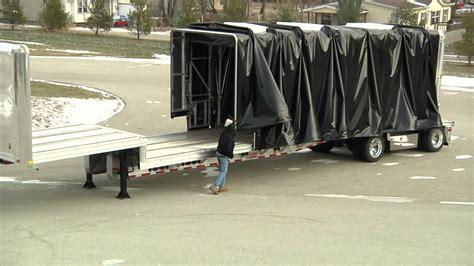 Flatbed Curtain Side Trailers Aero Industries Conestoga 2 Drop Deck Youtube