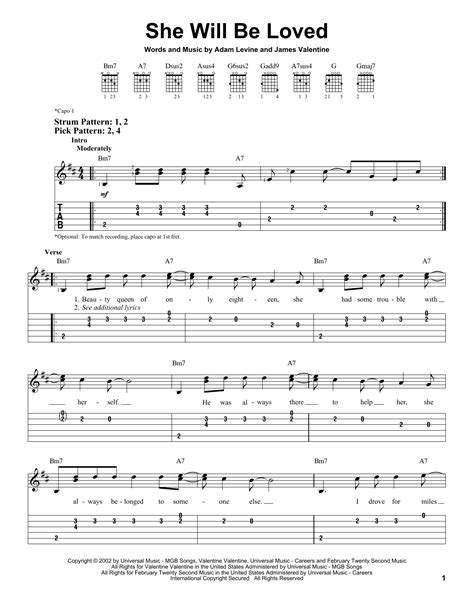 She Will Be Loved Guitar Tutorial | she will be loved sheet music by maroon 5 easy guitar tab