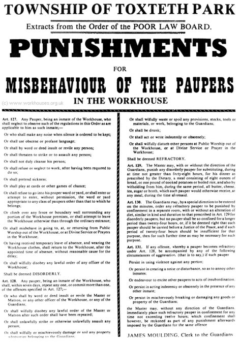 times law section workhouse rules and punishment