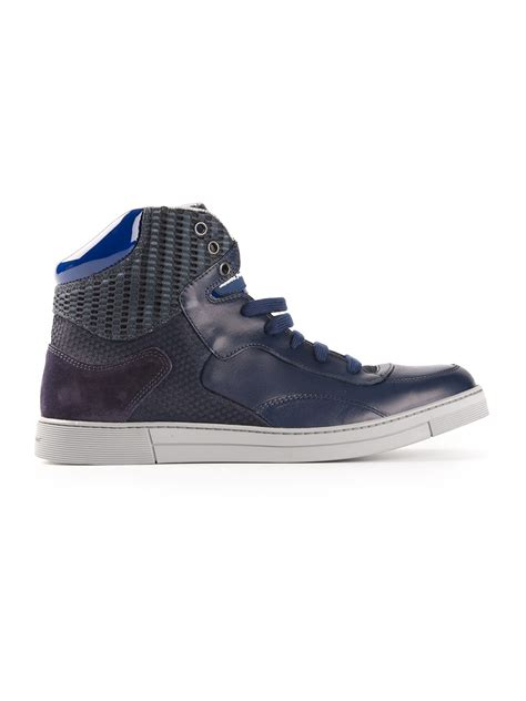 ferragamo sneakers mens ferragamo hitop sneakers in blue for lyst