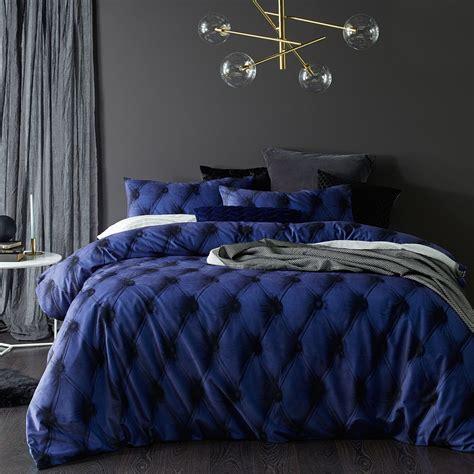 blue buttons printed cotton velvet quilt cover set