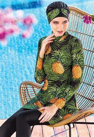akdeniz serisi tesettuer mayo ananas adesea  siyah