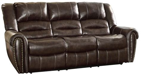 homelegance double reclining sofa center hill dark brown power double reclining sofa from