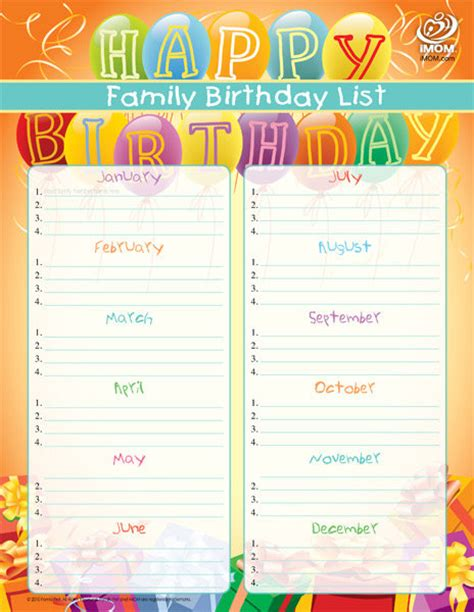 birthday reminder calendar template free printable birthday reminder list calendar template 2016