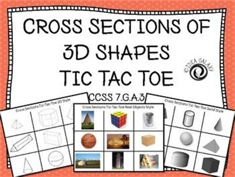 cross section of 3d shapes cross sections of 3d shapes activity tic tac toe