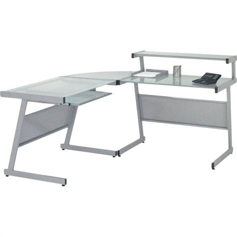 Glass Table L Shades Landon L Shape Glass Top Computer Desk 2751xa