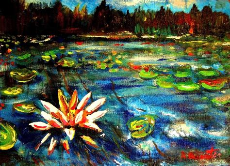 acrylic paint artist pad speed painting water lilies lake impressionist acrylic