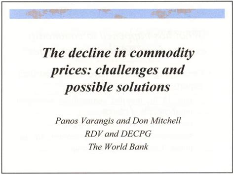 challenges and possible solutions a decline in commodity prices challenges and possible
