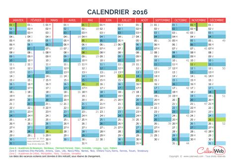 Calendrier Jours Calendrier 2016 Semaines