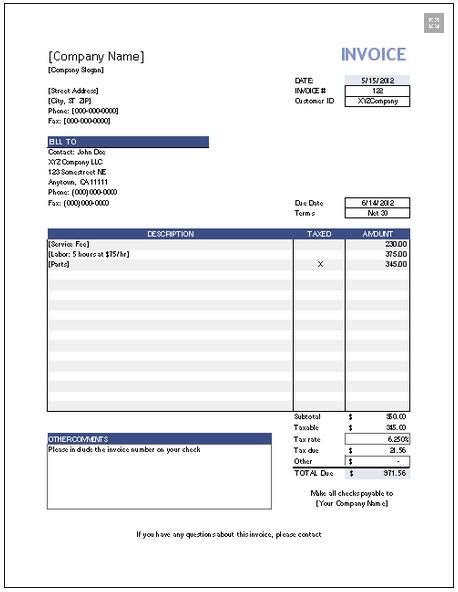 free invoice template software for