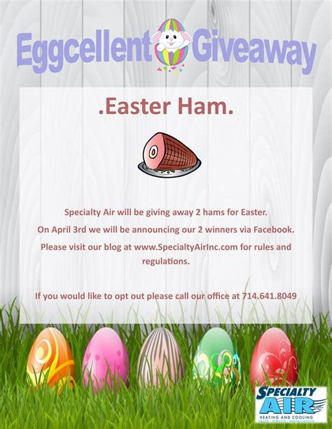 Easter Giveaway - easter ham giveaway rules and regulations specialty air inc