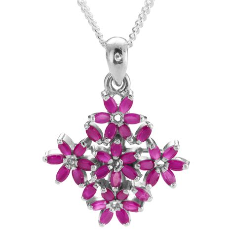 Ruby 6 5ct shipton and co silver and 6 5ct ruby flower pendant
