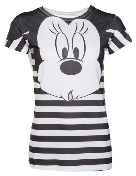Minnie White T Shirt s black and white stripe disney minnie mouse