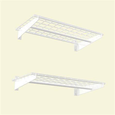 White Wire Wall Shelf Hyloft 2 Shelf 36 In W Wire Garage Wall Storage System In