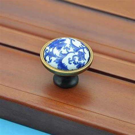 chagne bronze cabinet knobs retro fashion white and blue porcelain furniture knobs
