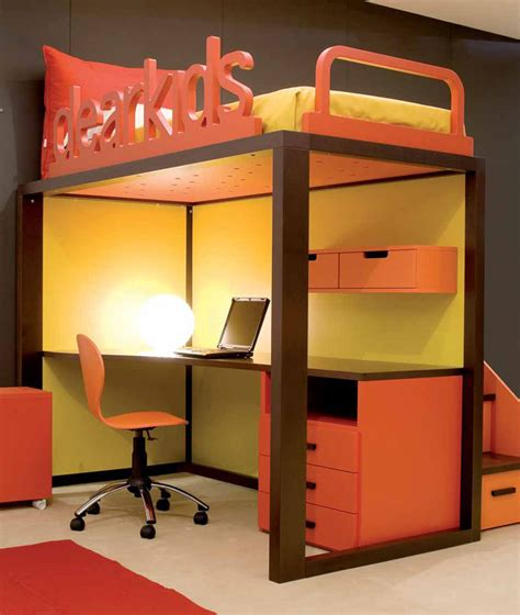 kid bed with desk brown yellow and orange room with study desk bed interior design ideas
