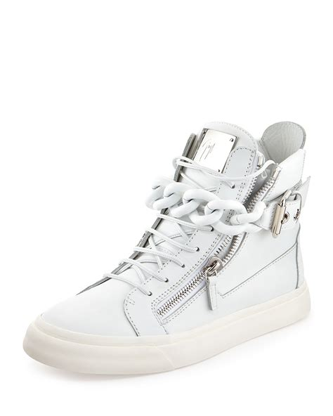 best white sneakers mens giuseppe zanotti mens chain zipper leather high top