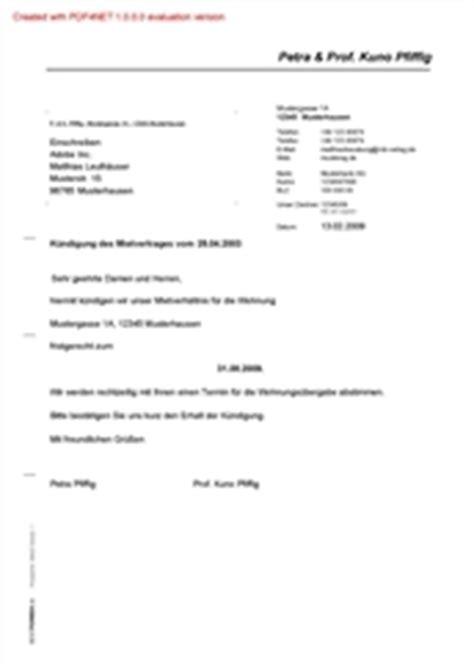 Muster Kündigung Wohnung Mit Nachmieter Bestform24
