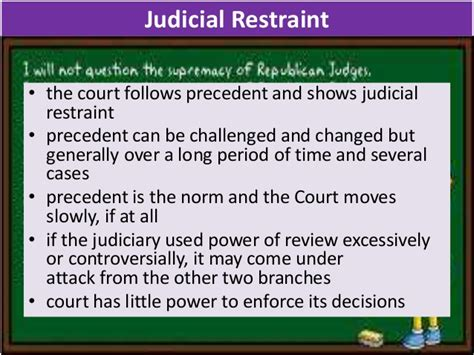 exle of judicial restraint what does the supreme court play in the us political system