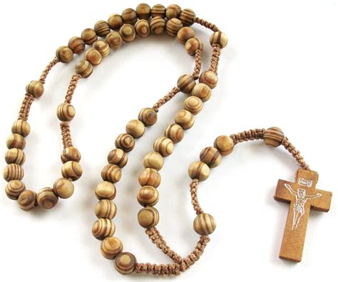 wood bead rosary necklace catholic rosaries wood rosary prayer wooden cross