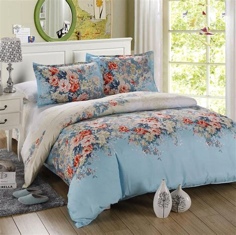 Flower Bed Set 4pcs Size Luxury Comforter Set Microfiber Sheets Turquoise Bedding Blue Orange Green