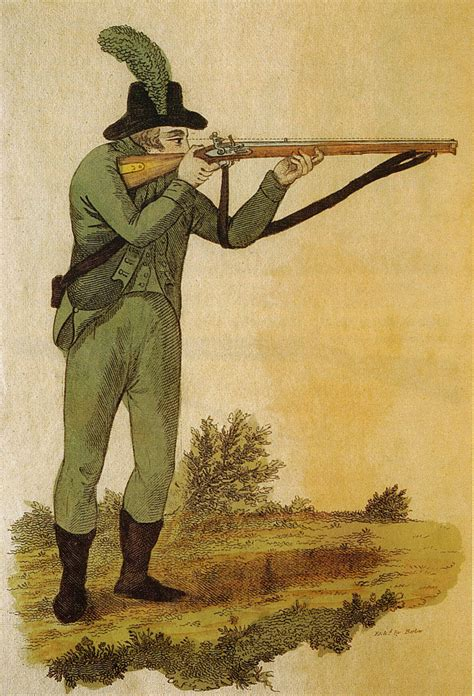 twenty three years practice and observations with rifle guns classic reprint books file green jacketed rifleman firing baker rifle 1803 jpg