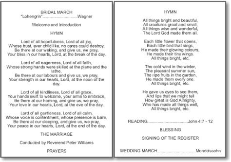 layout order of service wedding order of service