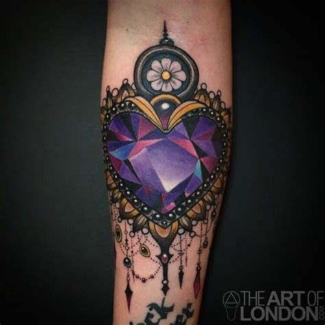 tattoo gem london amethyst crystal heart tattoo by londonreese at