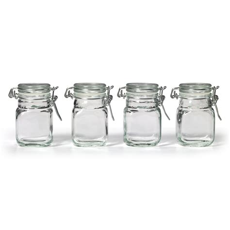 Glass Kitchen Canisters Airtight by New Square Glass Jar Amp Hinge Lid Set 4 Piece Kitchen