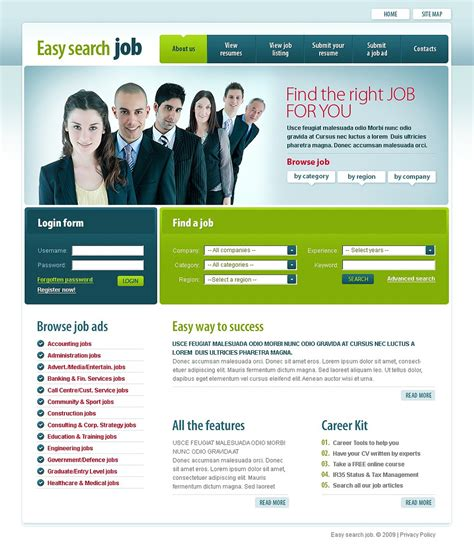 free templates for recruitment website job portal website template 22059