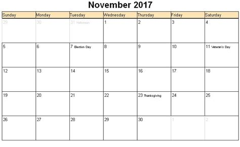November 2017 Calendar Word Template november 2017 printable calendar template holidays excel