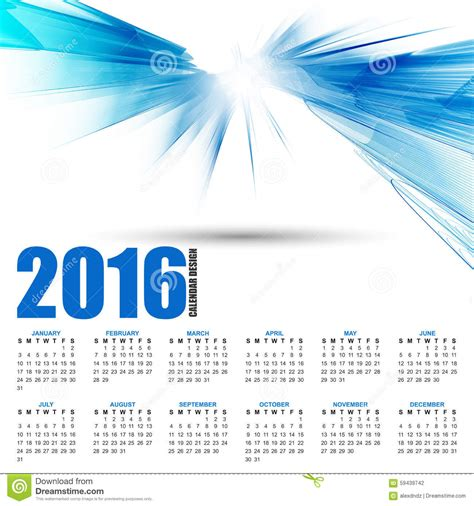 design calendar background calendar for 2016 on futuristic wavy background stock