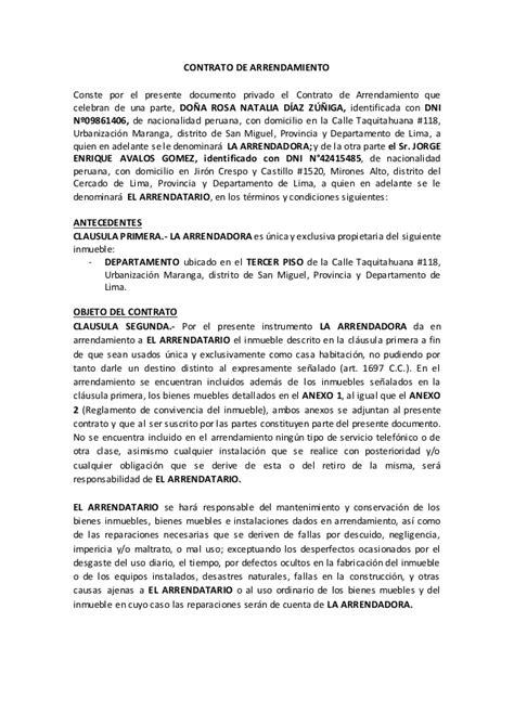 contrato alquiler vivienda 2015 word modelo contrato de alquiler de vivienda 2015 contrato de