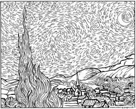 gogh coloring book print gogh starry coloring pages