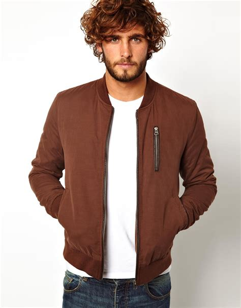 Jaketexpress Boomber Brown Jacket Boomber asos bomber jacket in brown for lyst