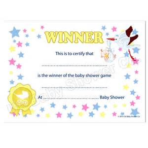 party game winners certificates uk baby shower co ltd