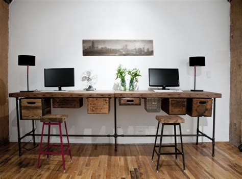 Computer Table And Chair Design Ideas Furniture Diy Reclaimed Wood Computer Desk For Two With Metal Legs And Hanging Drawers