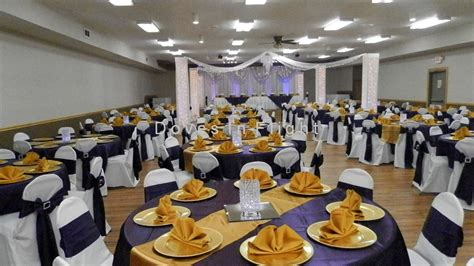 purple and gold table decorations chair covers of lansing table decorations