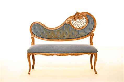vintage furniture prop hire blue gold seat