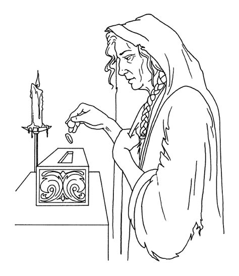 coloring pages jesus raising widow s the widow s offering coloring pages